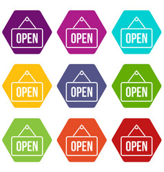 Sign open icon set color hexahedron vector