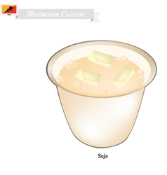 Suja or bhutanese butter tea with salted flavor vector