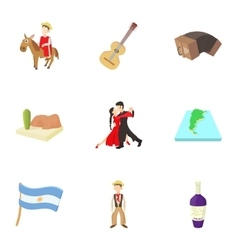 Tourism in argentina icons set cartoon style vector
