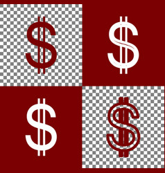 United states dollar sign bordo and white vector