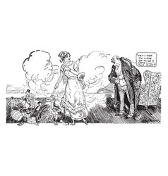 Womens suffrage cartoon - housecleaning vintage vector