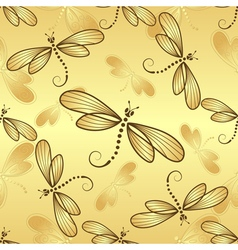 Seamless pattern with gold gradient dragonflies vector image