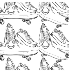 Sport shoes with skateboard vector