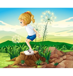 A girl in the field vector image