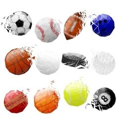 Set of sport balls crashed vector image