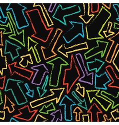 Seamless pattern of handdrawn colorful arrows vector