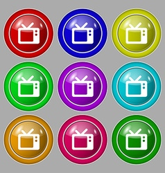 Retro tv icon sign symbol on nine round colourful vector