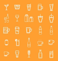 Drink line icons on orange background vector