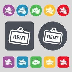 Rent icon sign a set of 12 colored buttons flat vector