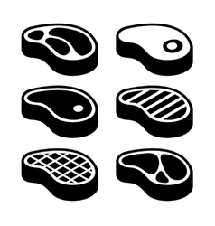 Steak Icons Set vector image