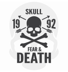 Fear and death print skull and cross bones logo vector