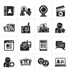 Black social networking and communication icons vector