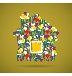 Eco house flowers symbol and shadow vector image