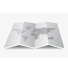 Grey world map on folded paper vector