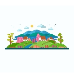 Eco landscape spring and summer vector