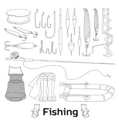 Fishing set icons vector