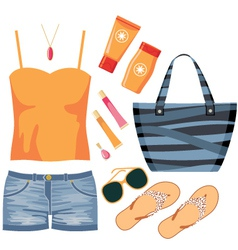 Fashionset of summer clothes vector