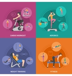 Fitness gym training 2x2 icons set vector