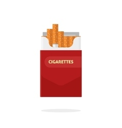 Open cigarettes pack box flat isolated vector