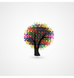 Abstract tree puzzle colorful background vector image vector image