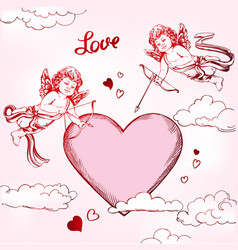 angel amyr little baby set cupid shoots a bow vector image
