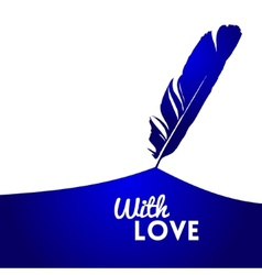 Background with blue feather vector