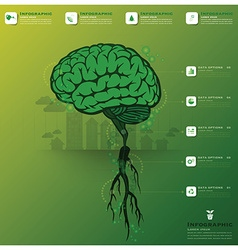 Brain tree and root infographic science background vector