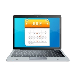 Calendar icon on the screen of laptop monitor vector image vector image