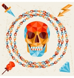 Card with colored geometric skull vector