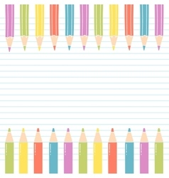 Colored Pencils on notebook sheet with White Space vector image