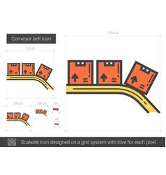 Conveyor belt line icon vector