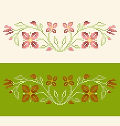 Design elements for cross-stitch embroidery vector image vector image