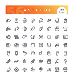 Fastfood line icons set vector