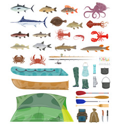 Fisherman man tools fishing tackles icons vector