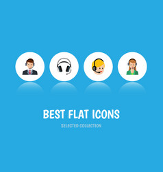 Flat icon call set of earphone hotline call vector