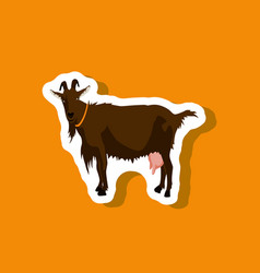 Goat paper sticker on stylish background vector
