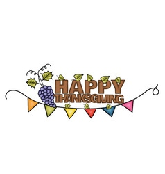 Happy Thanksgiving Day banner sign with a branch vector image vector image