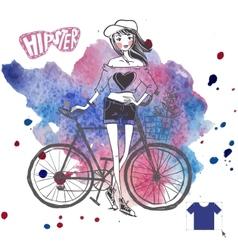 Hipster teenage girl on her vintage bike vector