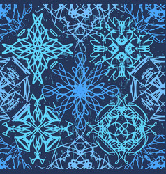 Ink hand drawn ornamental design snowflakes vector