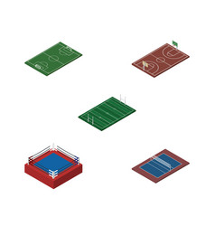 Isometric competition set of tennis soccer vector
