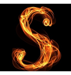 letter in fire vector image