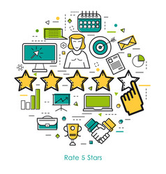 line art - rate five stars vector image