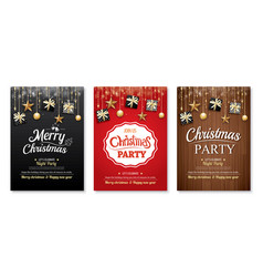 merry christmas party and gift box on background vector image