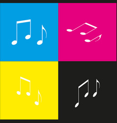 Music notes sign white icon with vector