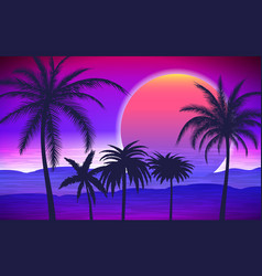 palm trees on tropical sunrise vector image vector image