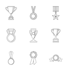 Rewarding icons set outline style vector