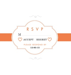 RSVP Wedding card orange style vector image vector image