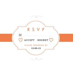 Rsvp wedding card orange style vector