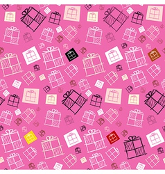 Seamless Pattern - Paper Present Boxes on Pink vector image