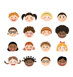 Set of children smiling faces vector